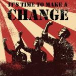 Graphic with three people demanding change